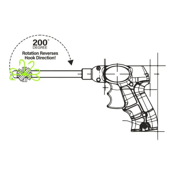 Swallowed hook remover drawing with rotating hook