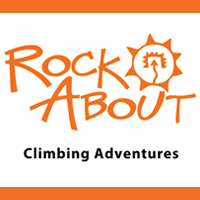 This is the link and logo to Rock About, a rock climbing program.